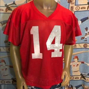 Red and White Mesh Practice Football Jersey #14 XL